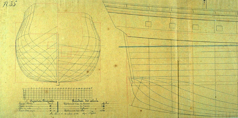 Longitudinal and Cross Sections of the Ship La Normandie