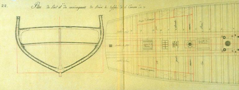 Deck Plan of the Ship Le Sylphe