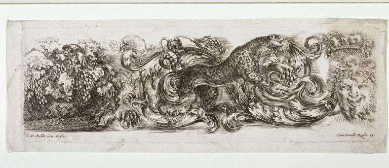 Ornamental Frieze with a Leopard, Grapes and Mask, from the series Ornamenti Di Fregi e Fogliame