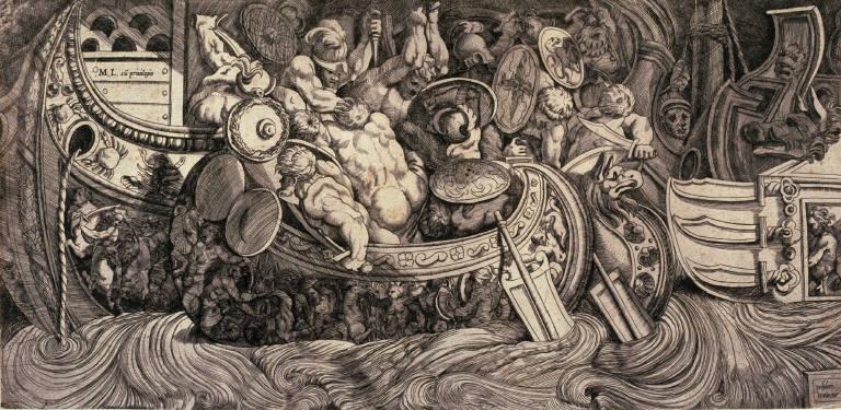 Frieze with a Battle of Antique Ships, after Polidoro da Caravaggio's fresco for the façade of the Palazzo Gaddi, Rome