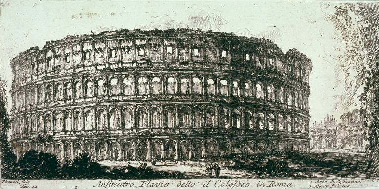 Anfiteatro Flavio detto il Colosseo in Roma (Amphitheater of Flavio called the Colosseum in Rome), pl. 12, from Antichità romane de' tempi della repubblica, e de' primi imperatori disegnate ed incise da Giambattista Piranesi architetto veneziano(Roman antiquities from the time of the republic and the first emperors, designed and engraved by Giambattista Piranesi, Venetian architect)