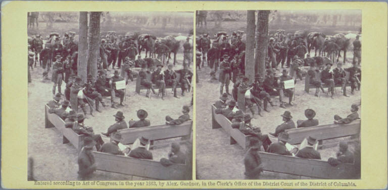 A Council of War at Massaponax Church, Va. 21st May, 1864. Gens. Grant and Meade, Asst. Sec. of War, Dana, and their staff officers.