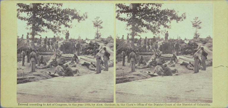 Part of Federal Line of Works, showing Bombproof Tents occupied by U. S. Colored Troops in front of Petersburg, Va., Aug. 7, 1864.