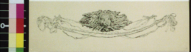Lion head with decorative strands