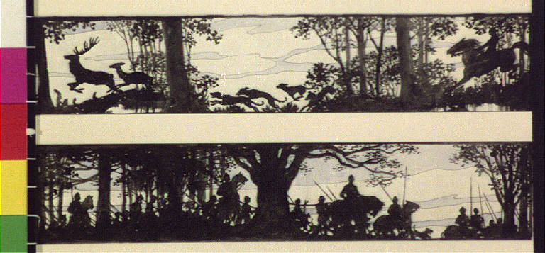 Horseback riders and dogs chasing deer; men with spears on horses in woods