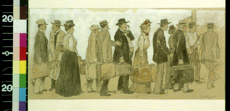 Men and women with luggage waiting in line