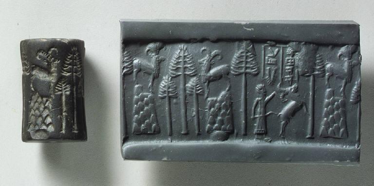 Cylinder seal and modern impression: hunting scene