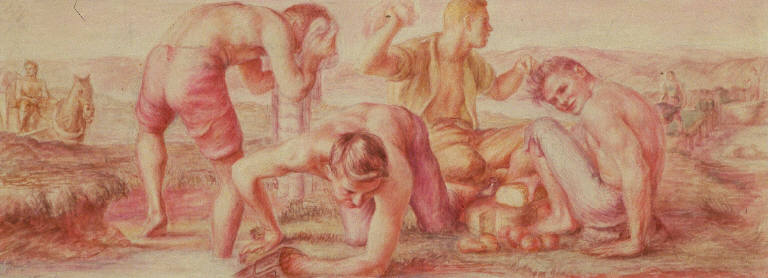 Mealtime, The Early Coal Miners (study for Plymouth, Pennsylvania Post Office Mural)