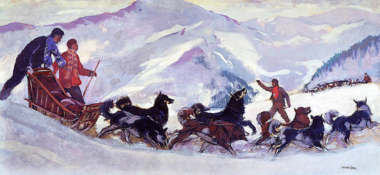 Meeting of the Winter Patrol (mural study, Conservation of the National Park, U.S. Dept. of Interior Building)