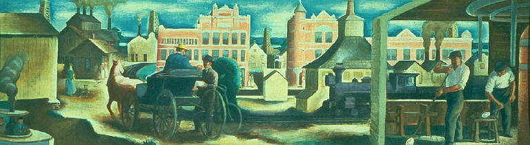 Gas City--Boom Days (mural study, Gas City, Indiana Post Office)
