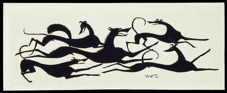 [Untitled: Four Dogs Attacking a Fox, The Chase]