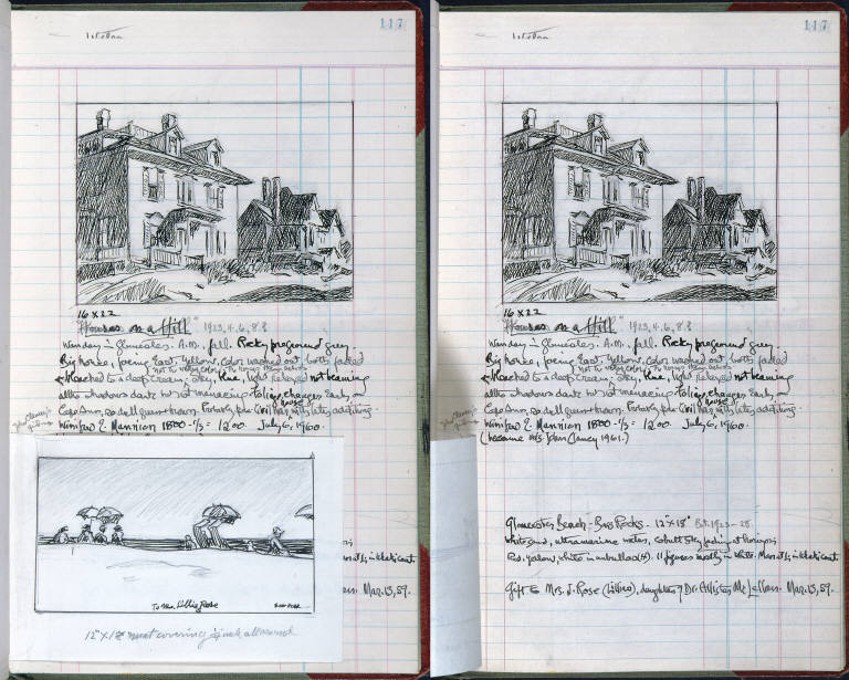 Artist's ledger - Book III: thumbnail sketch hinged to p. 117