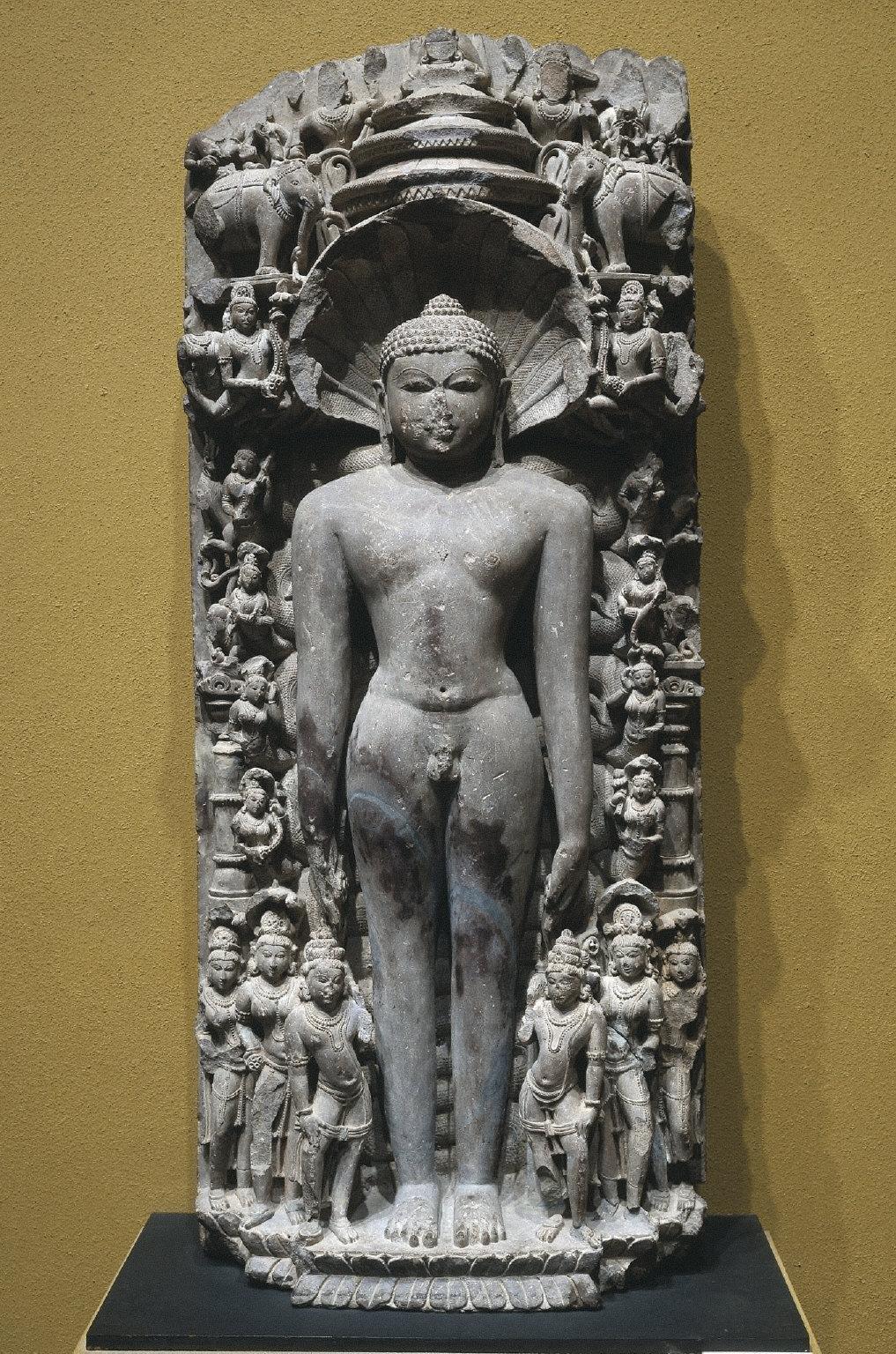 Stele in High Relief of Parshvanatha, the twenty-third Jain Tirthankara