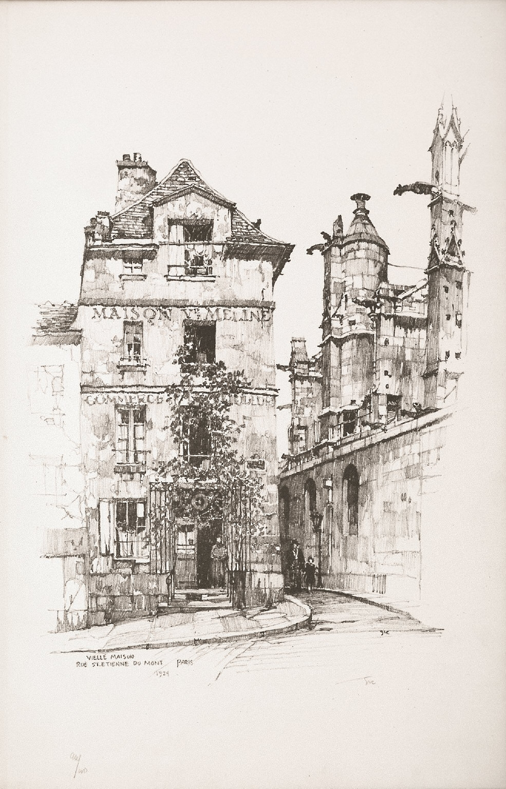 Twenty Lithographs of Old Paris: Veille Maison, Rue Saint Étienne du Mont, Paris
