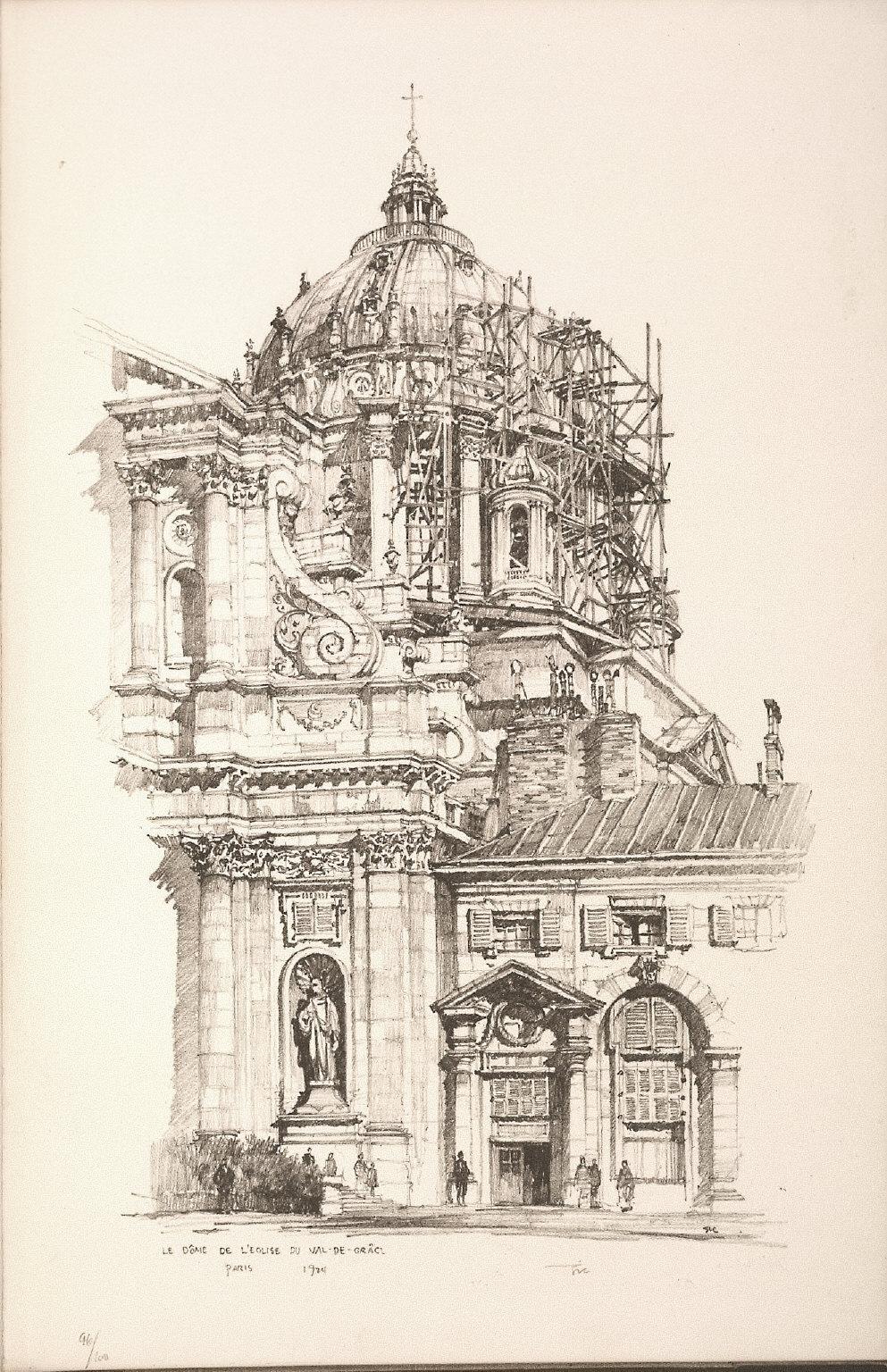 Twenty Lithographs of Old Paris: Le Dome de l'Église du Val de Grâce, Paris
