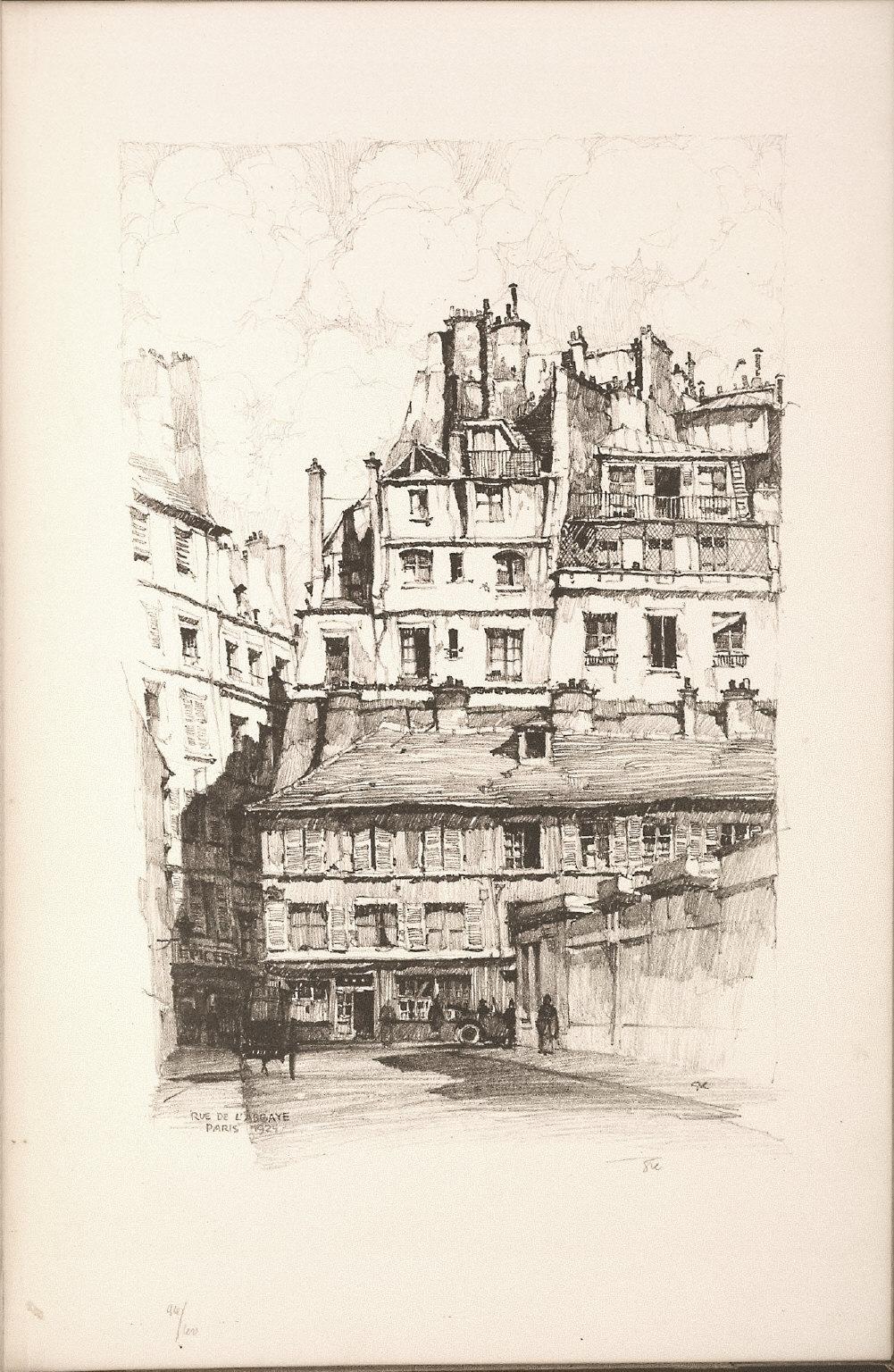 Twenty Lithographs of Old Paris: Rue de l'Abbaye, Paris