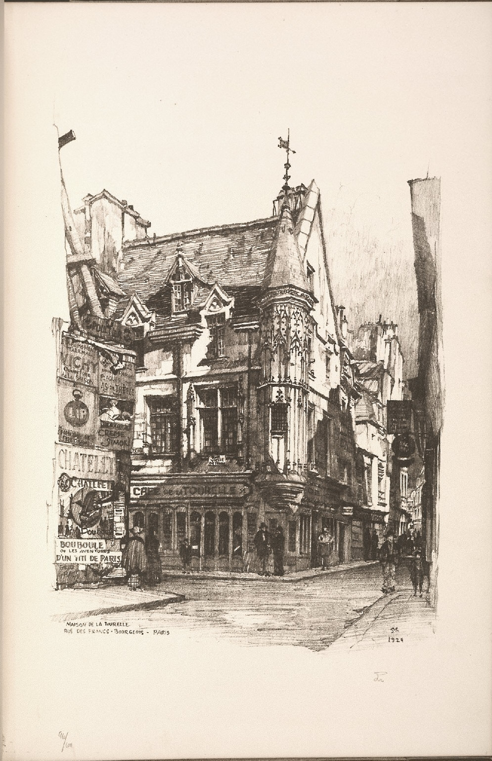 Twenty Lithographs of Old Paris: Maison de la Tourelle, Rue des Frances Bourgeois, Paris