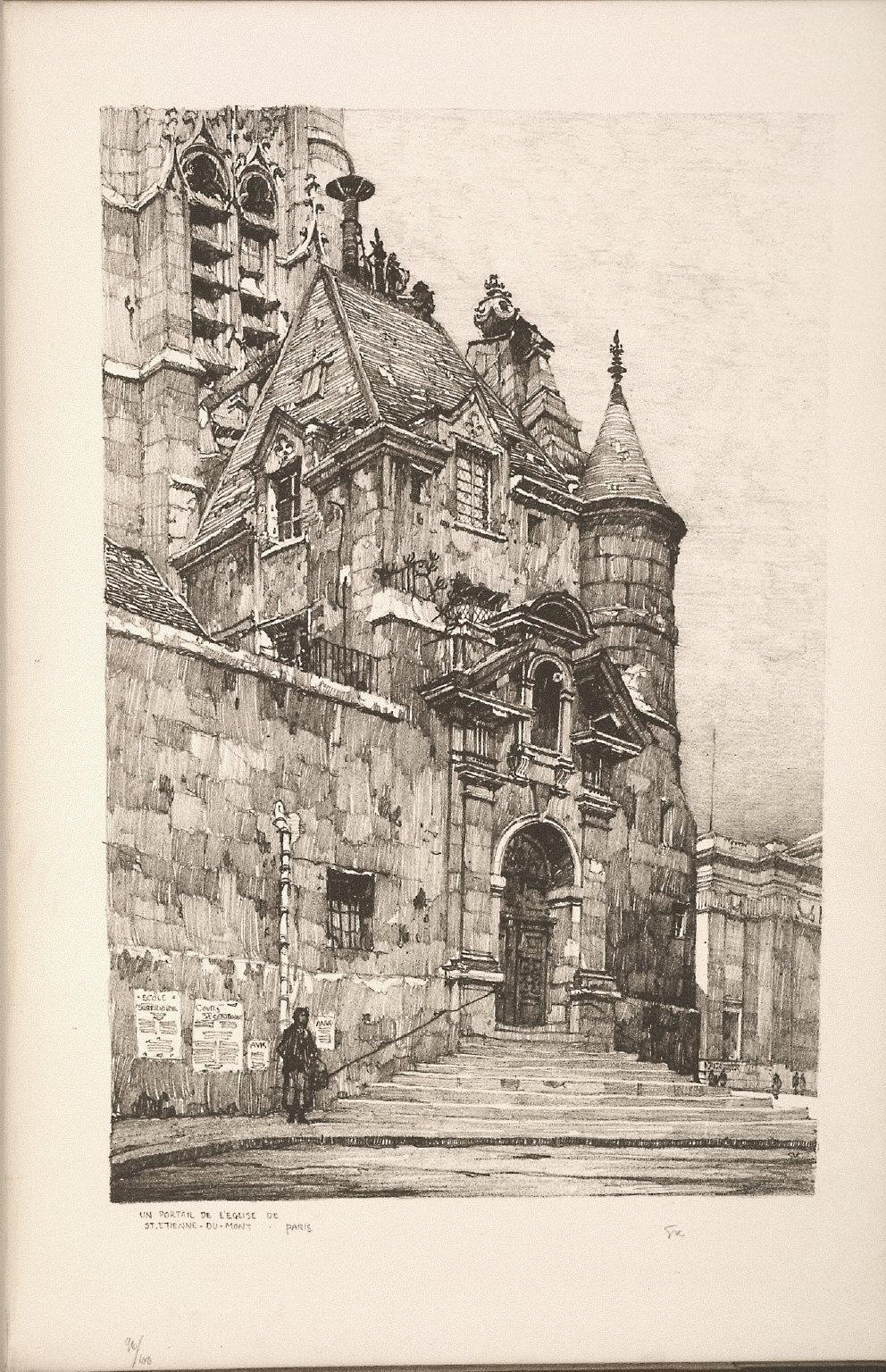 Twenty Lithographs of Old Paris: Un Portail de l'Église de Saint Étienne du Mont, Paris