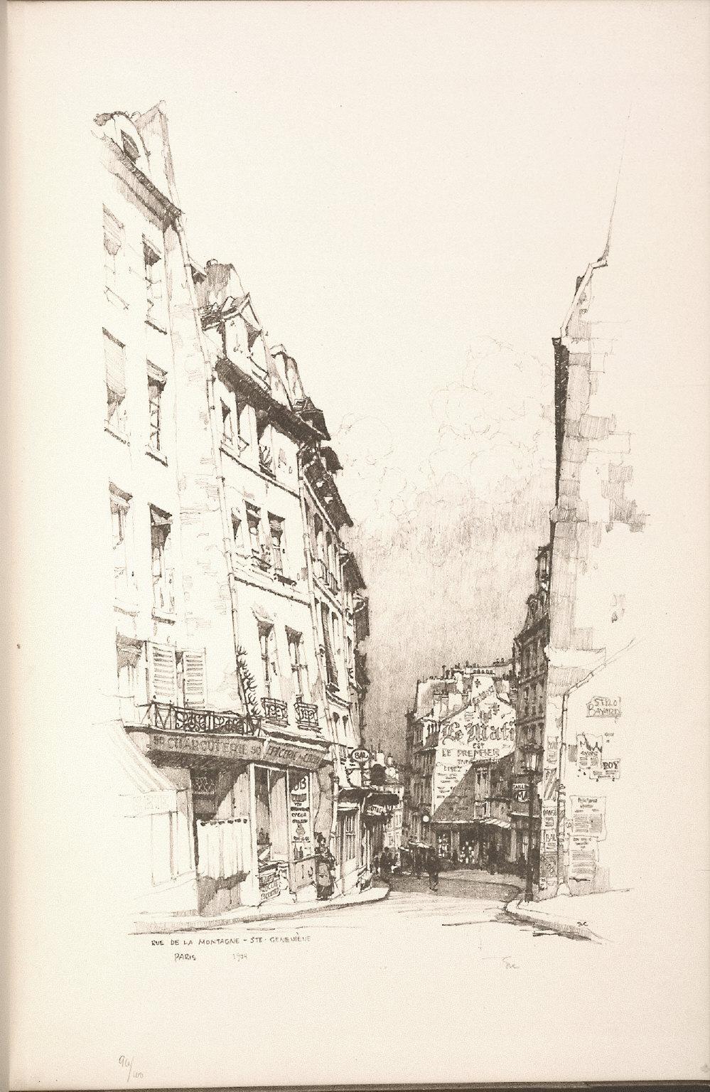 Twenty Lithographs of Old Paris: Rue de la Montagne Sainte Geneviève, Paris