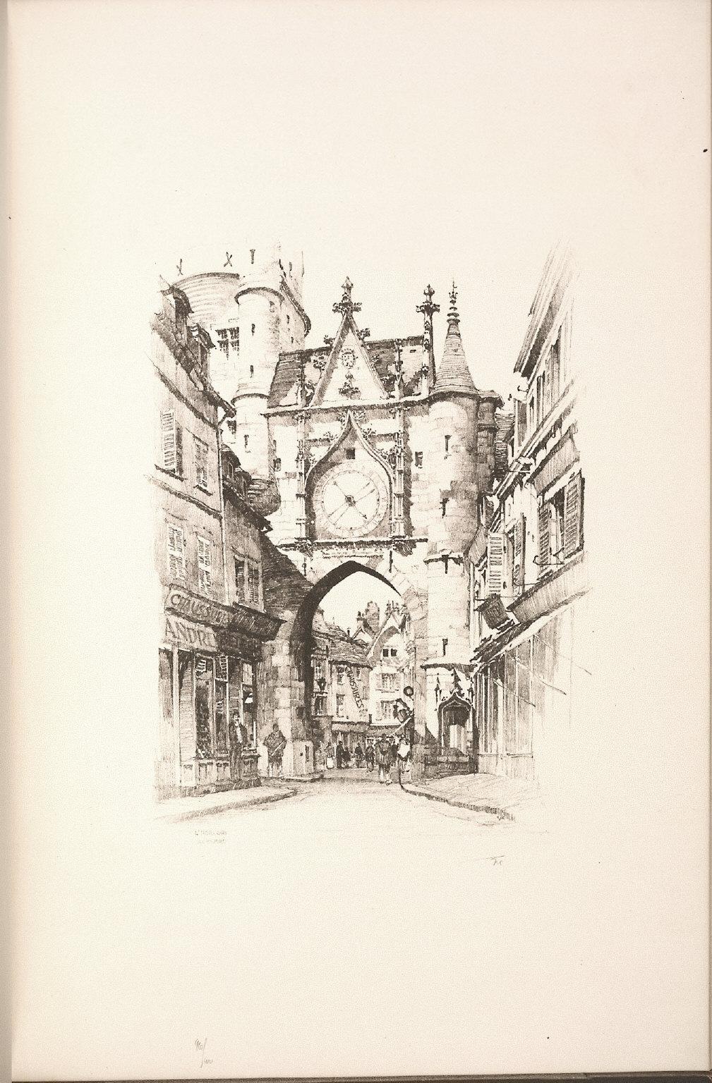 Twenty Lithographs of Old Paris: L'Horloge, Auxerre
