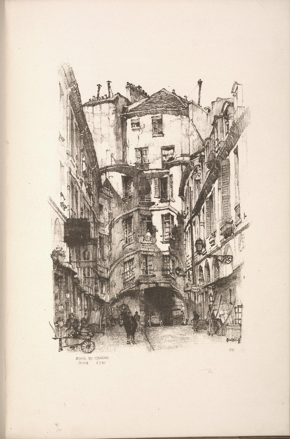 Twenty Lithographs of Old Paris: Cour du Dragon, Paris