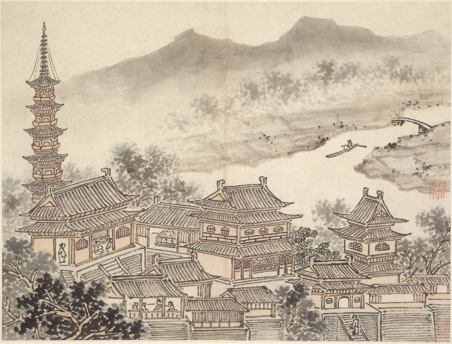 """Twelve Views of Tiger Hill, Suchou: The Thousand Buddha Hall and the Pagoda of the """"Cloudy Cliff"""" Monastery"""