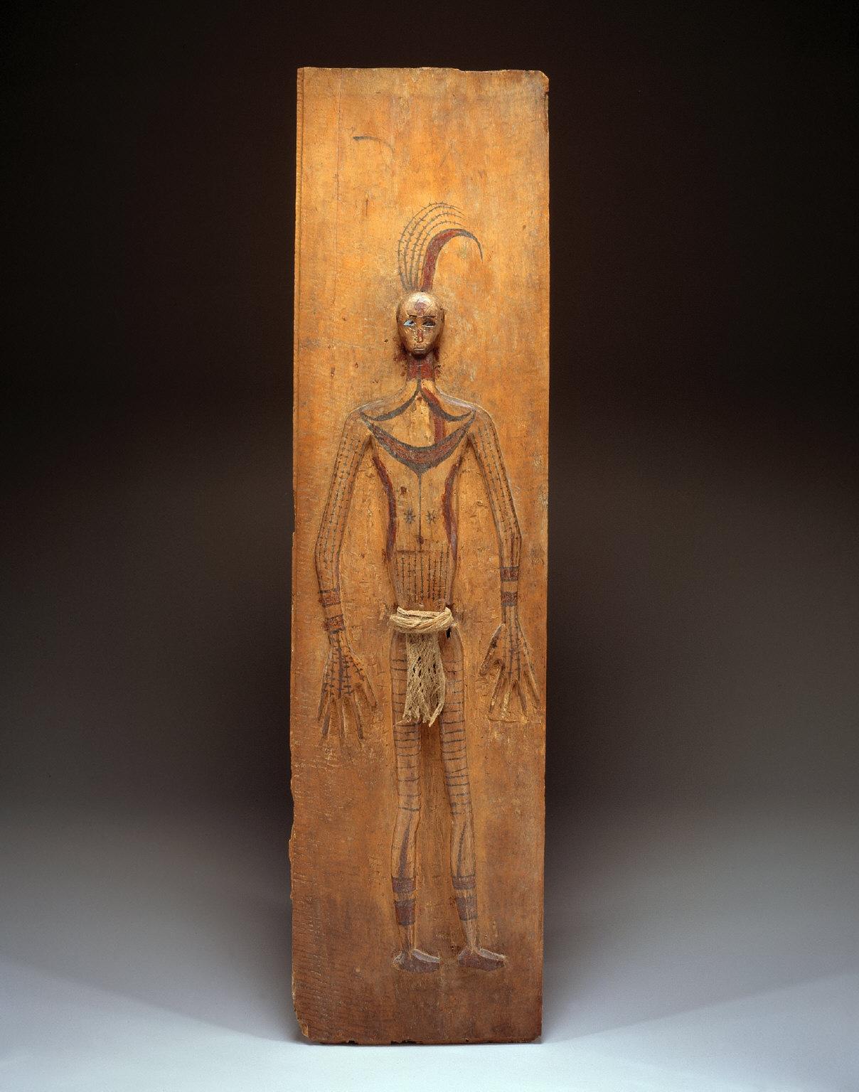 Wall panel with figure of a slain shaman (tulangan sirimanua)