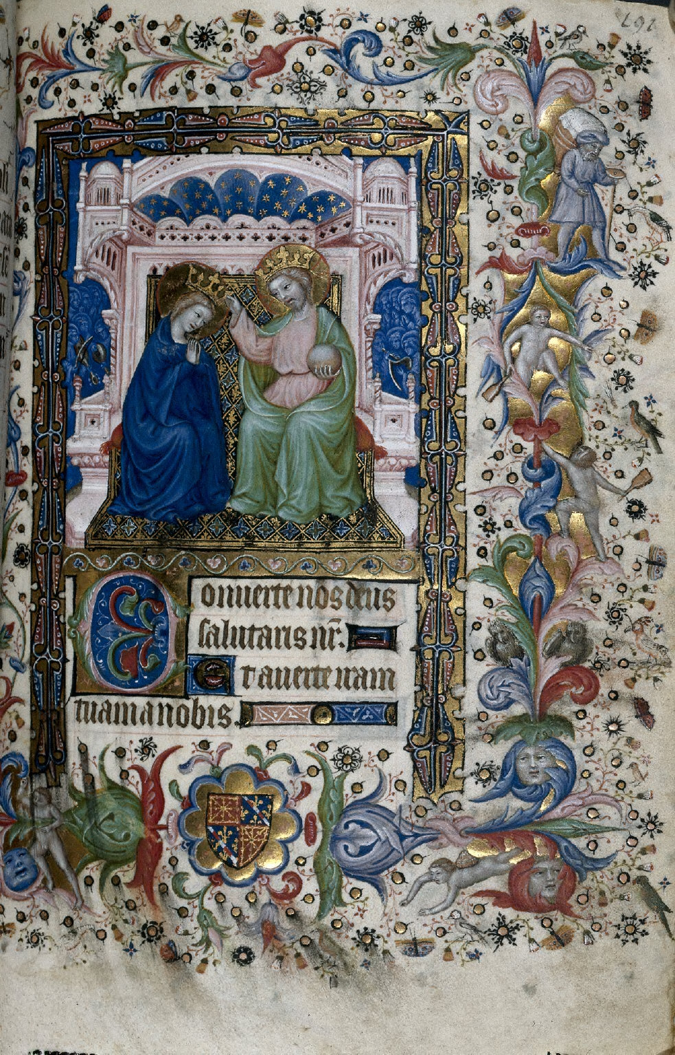 Hours of Charles the Noble, King of Navarre (1361-1425): Coronation of the Virgin (Compline), fol. 96 (recto)