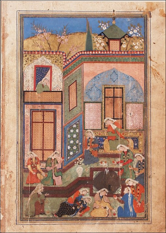 The Ladies of Egypt Stunned by Yusuf's Beauty; Page from a Manuscript of the Yusuf and Zulaykha of Jami