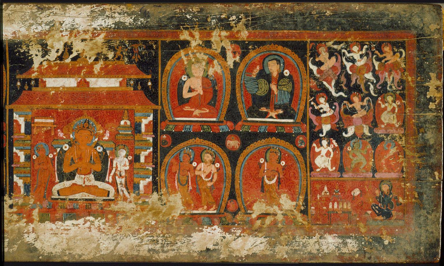 Enshrined Manjusri with Monks and Deities, Cover of a Prajnaparamita (The Perfection of Wisdom)