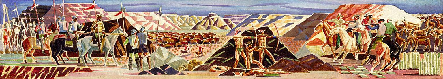 Coronado's Exploration Party in the Palo Duro Canyon (Mural Study, Amarillo, Texas Post Office)