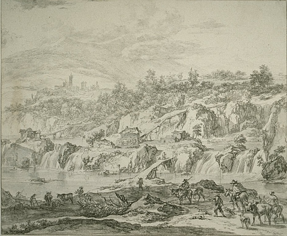 Landscape with Waterfalls and Bridges, Peasants in the Foreground