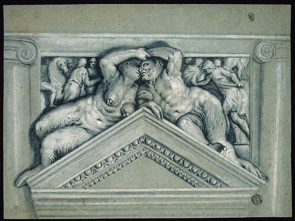 Overdoor with Satyr and Satyress