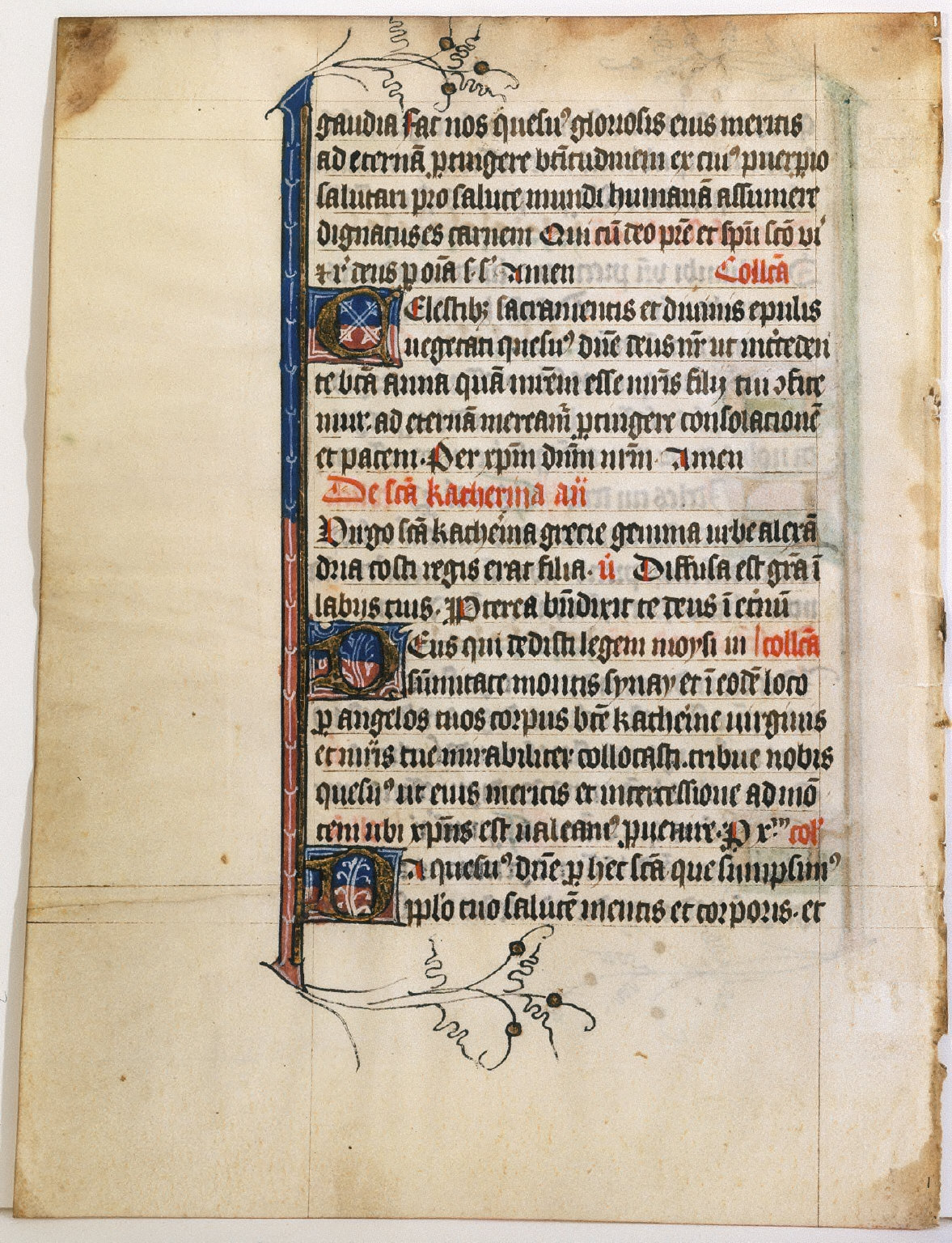Book of Hours: Page with Decorative Capitals