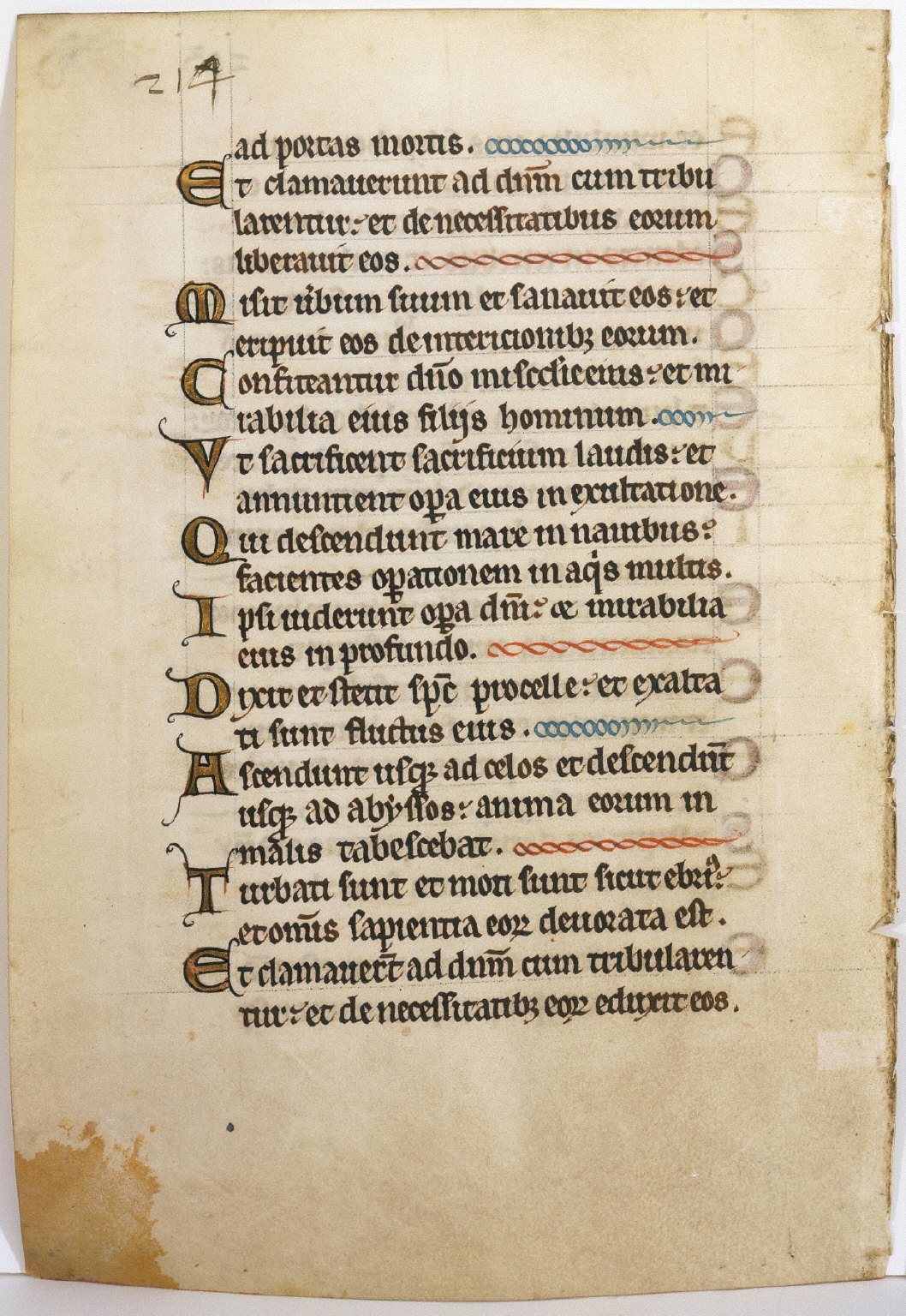 Psalter Leaf with Gold Capitals