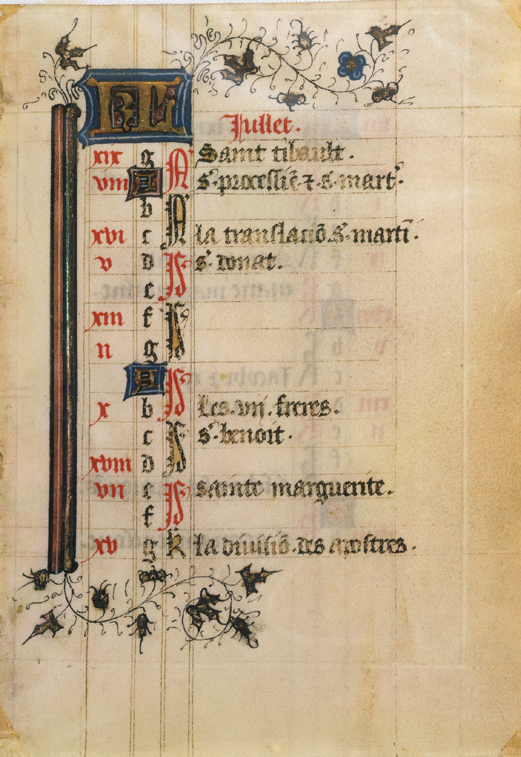 Page from a Book of Hours: Calendar