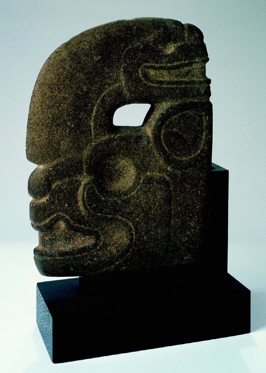 Thin Stone Head with Jaguar and Serpent