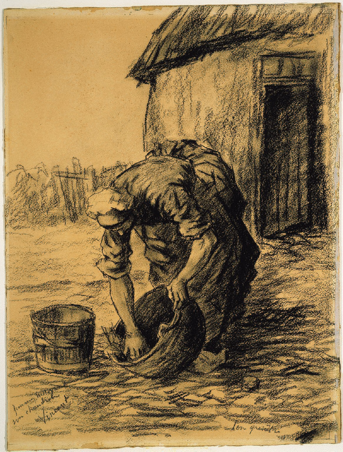 Woman Cleaning a Cauldron