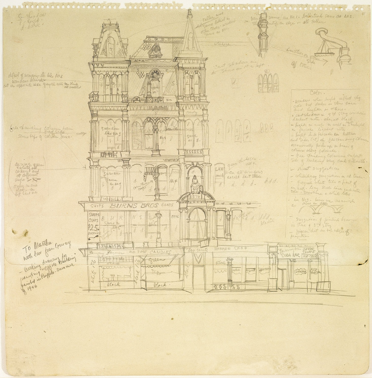 Working Drawing for painting 'Office Building'