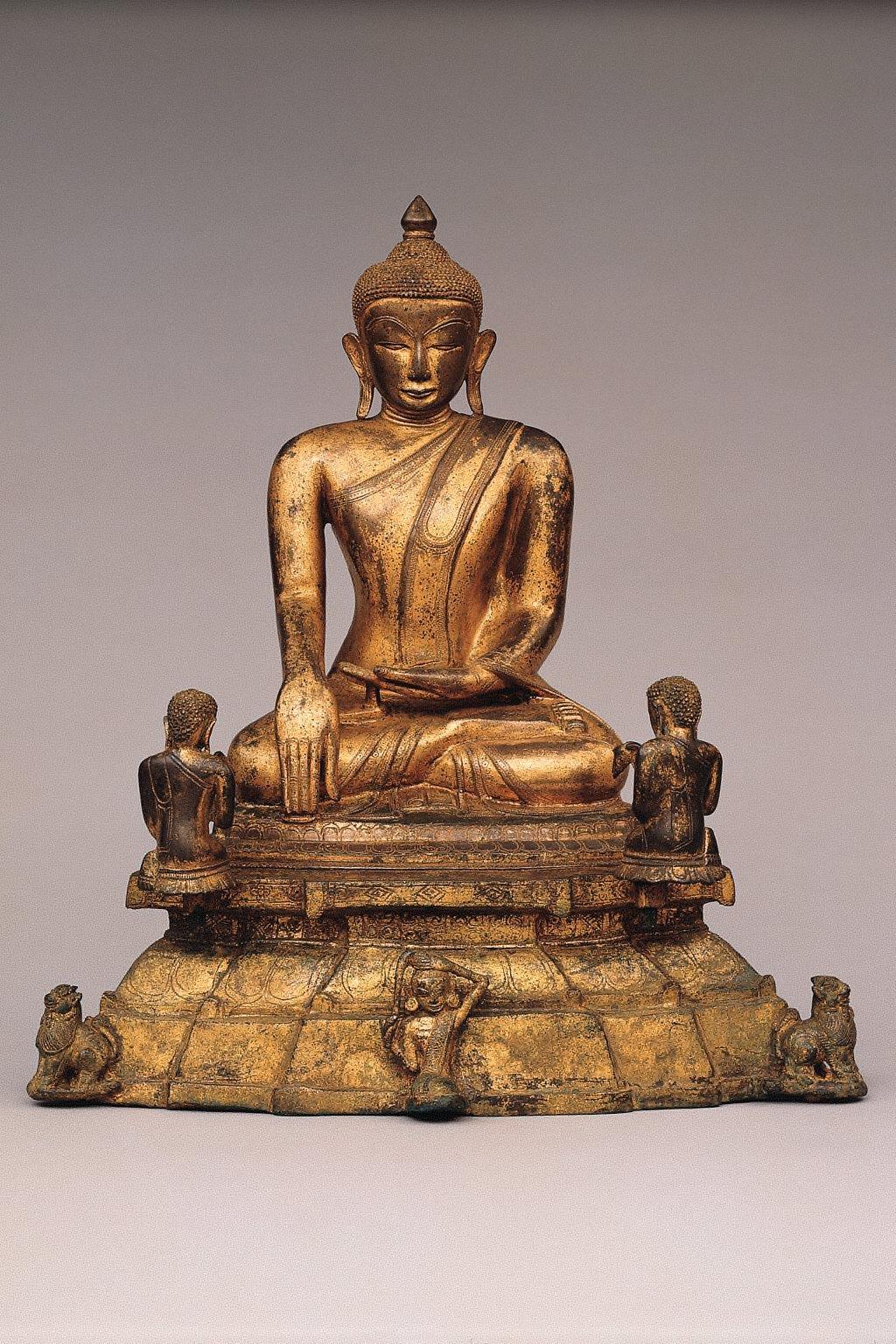 Buddha Shakyamuni with Kneeling Worshippers