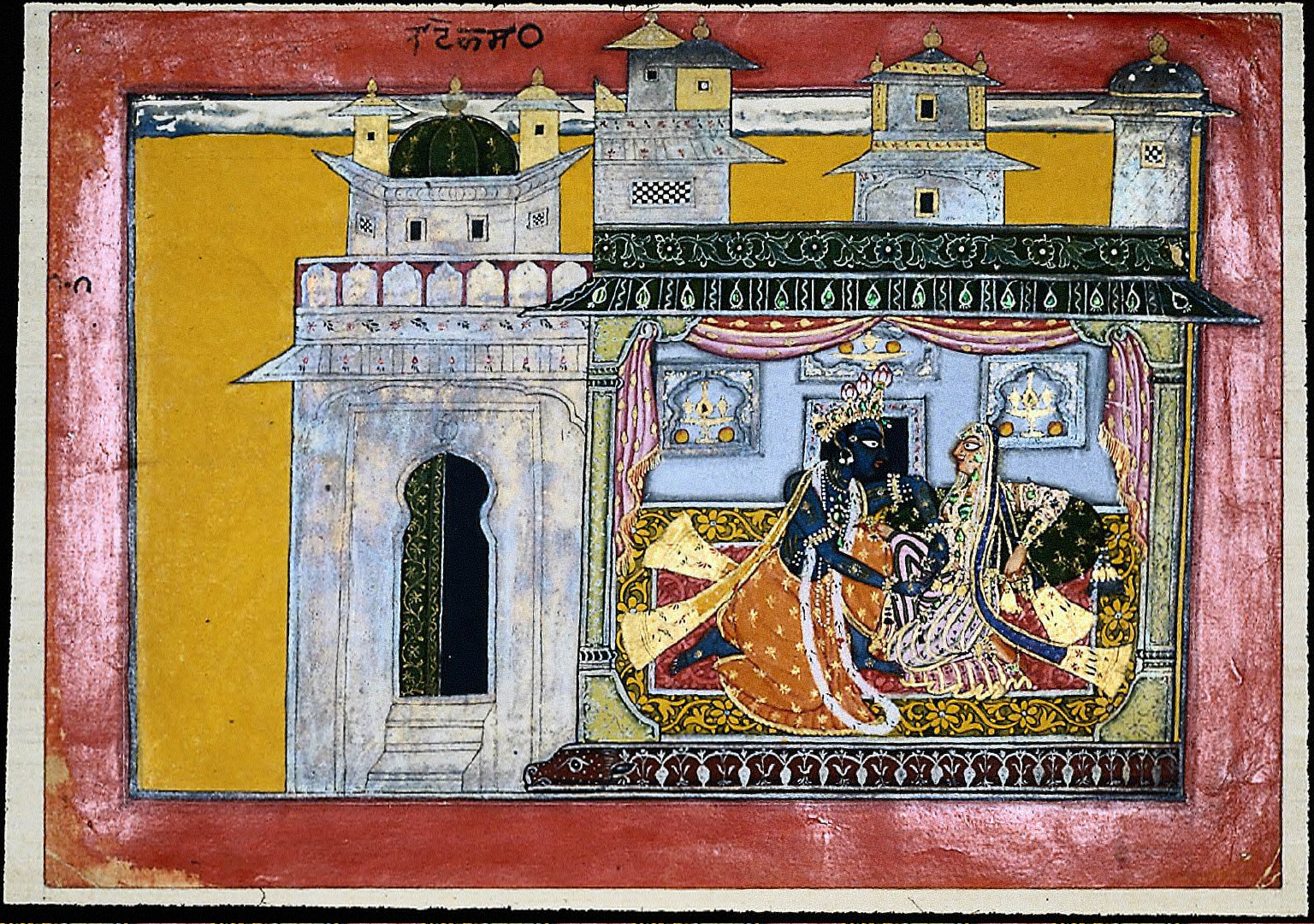 "Satha Nayaka: The ""false gallant,"" Krishna, attempting to loosen the knot of Radha's skirt"