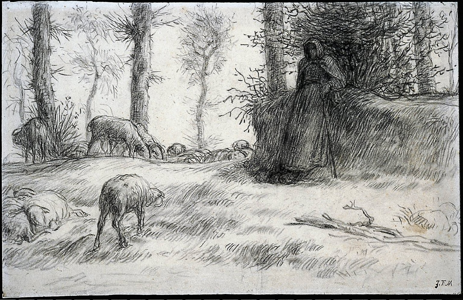 Landscape with Shepherdess and Sheep, Winter