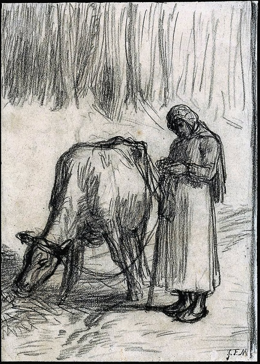 Girl Tending a Cow