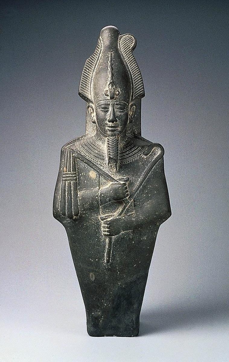 Upper part of statue of Osiris