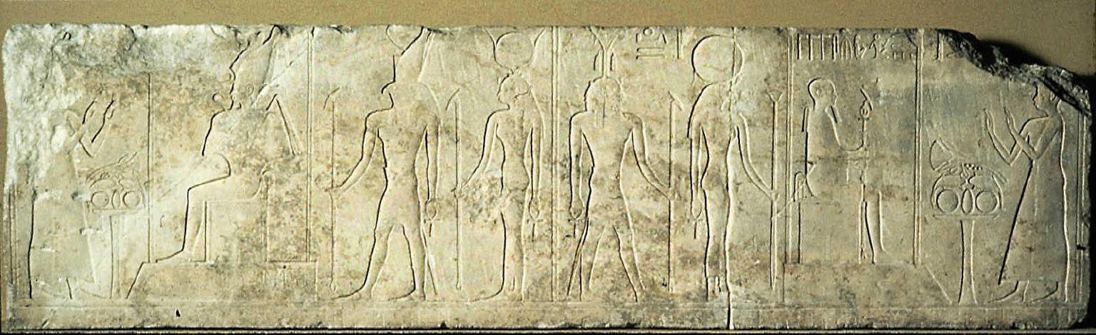 Lintel with relief of owner worshipping two divine triads