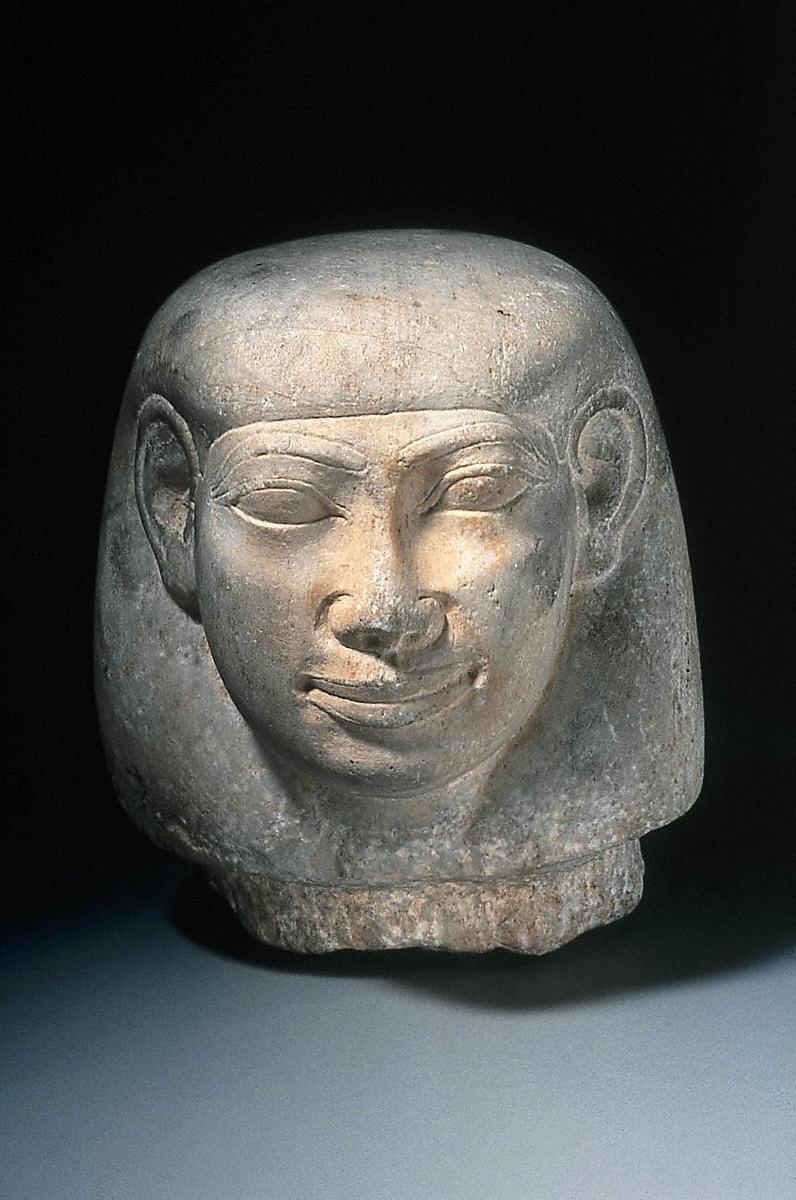Head of god Imseti from canopic jar of King Tanutamani