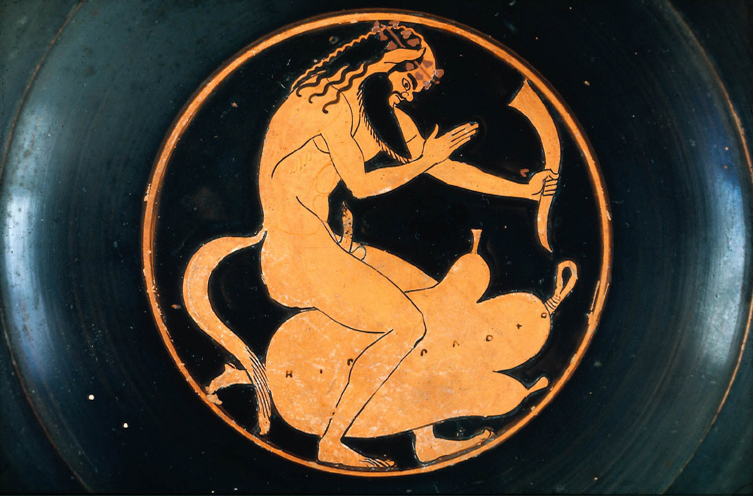 Kylix (wine cup) with satyr