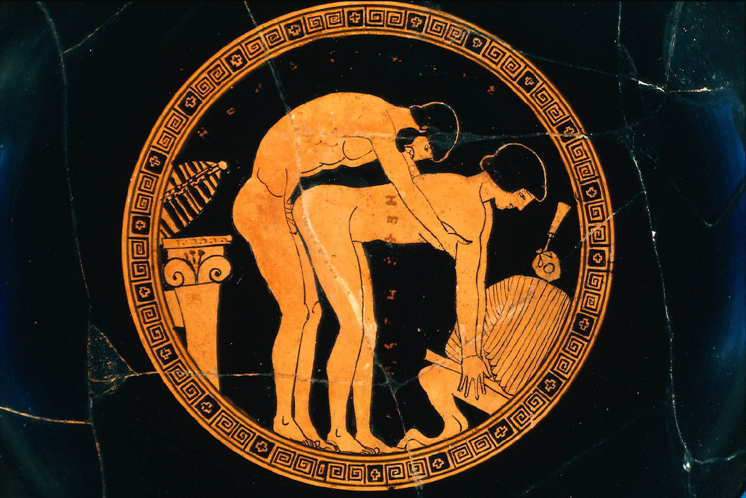 Kylix (wine cup) with erotic scene