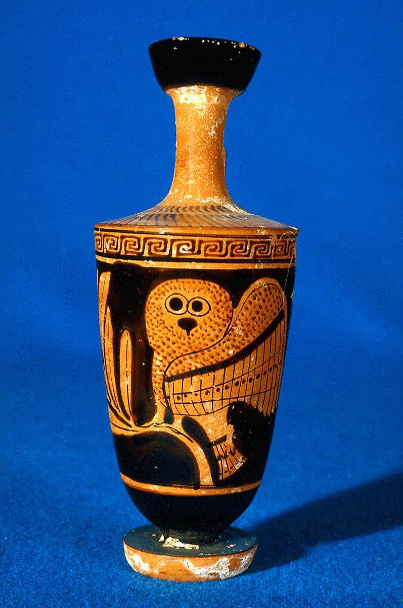 Lekythos (oil bottle) with owl