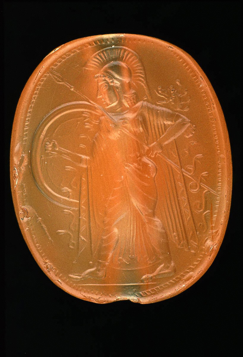 Scaraboid intaglio with Athena walking with spear and shield